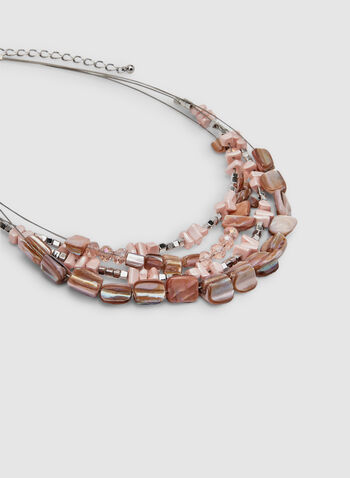 Multi-Row Beaded Necklace, Pink, hi-res