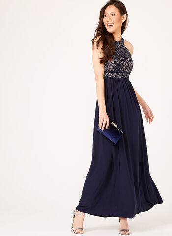 Sequin Lace Bodice Jersey Dress, Blue, hi-res