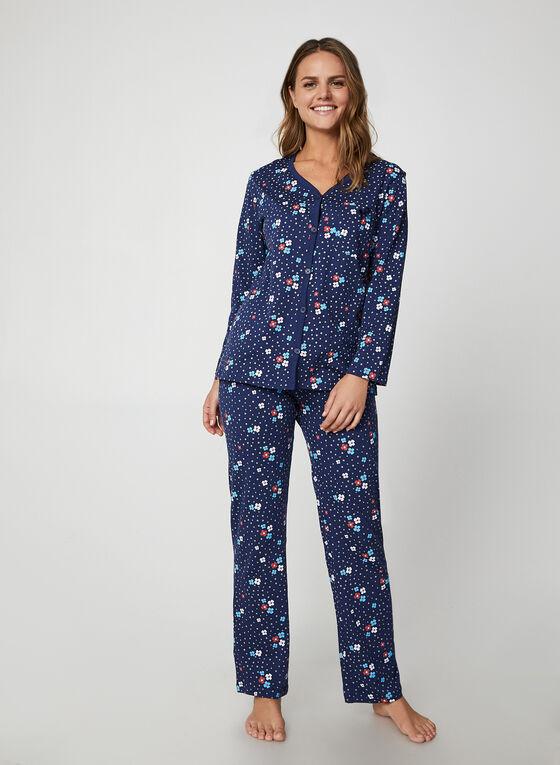 Hamilton - Floral & Polka Dot Print Pyjama Set, Blue