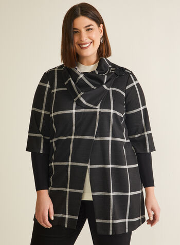 Plaid Print Cowl Neck Cover-Up, Black,  top, cover-up, knit, plaid, cowl neck, layer sleeves, fall winter 2020