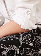 Pantalon floral pull-on à jambe large, Noir, hi-res