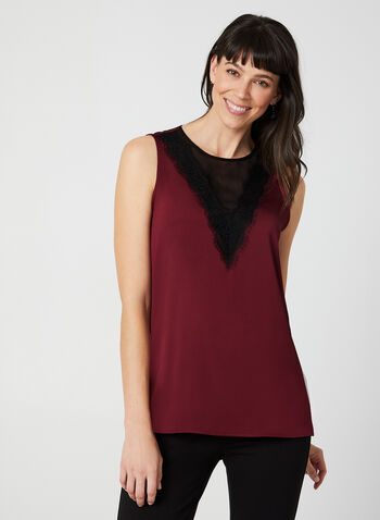 Illusion Neck Sleeveless Blouse, Red, hi-res,  Blouse, top, sleeveless, lace, fall 2019, winter 2019