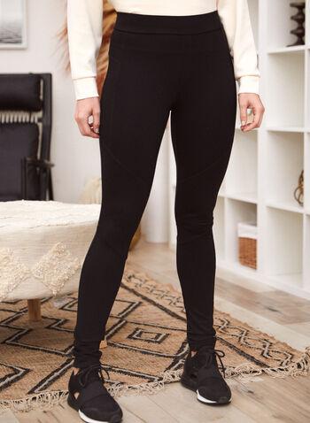 Pantalon jambe étroite à enfiler, Noir,  pantalon, bas, jambe étroite, pull-on, à enfiler, taille élastique, extensible, surpiqûres, fait au Canada, automne 2021