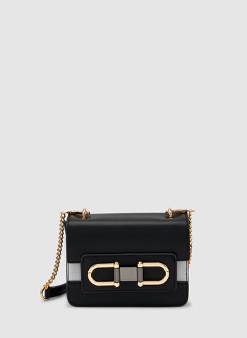 Two Tone Crossbody Bag, Black, hi-res,  faux leather, buckles, chain, removable shoulder strap, fall 2019, winter 2019