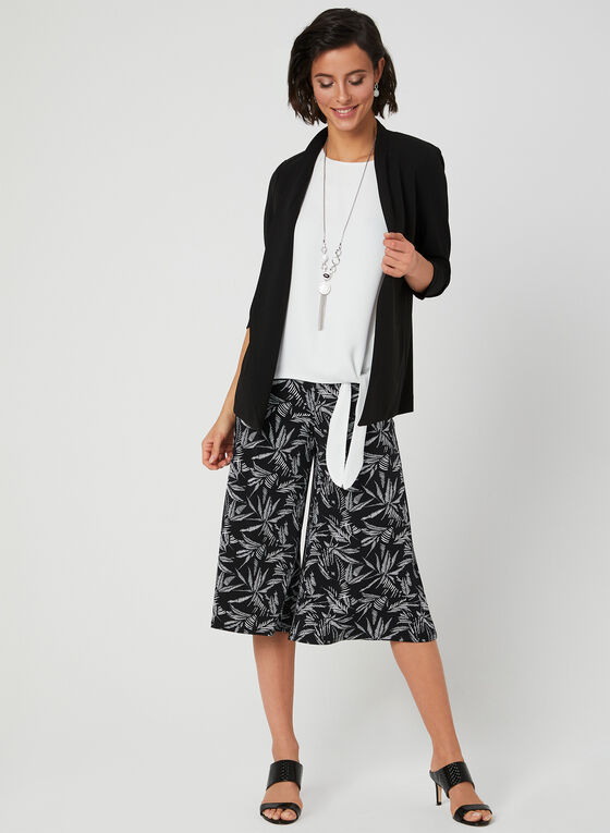 Palm Print Pull-On Culotte, Black, hi-res