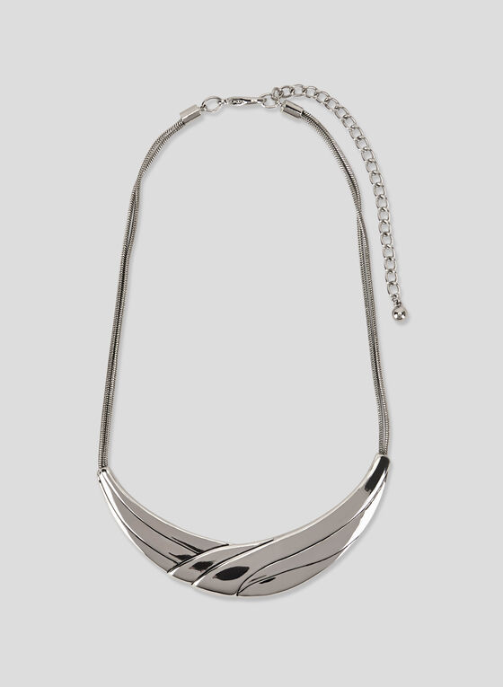 Smooth Metal Collar Necklace, Silver, hi-res