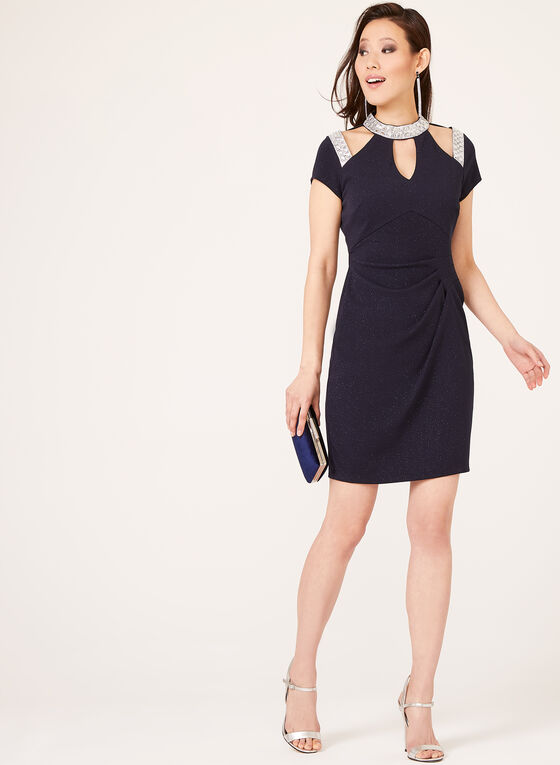 Marina - Crystal Encrusted Glitter Sheath Dress, Blue, hi-res