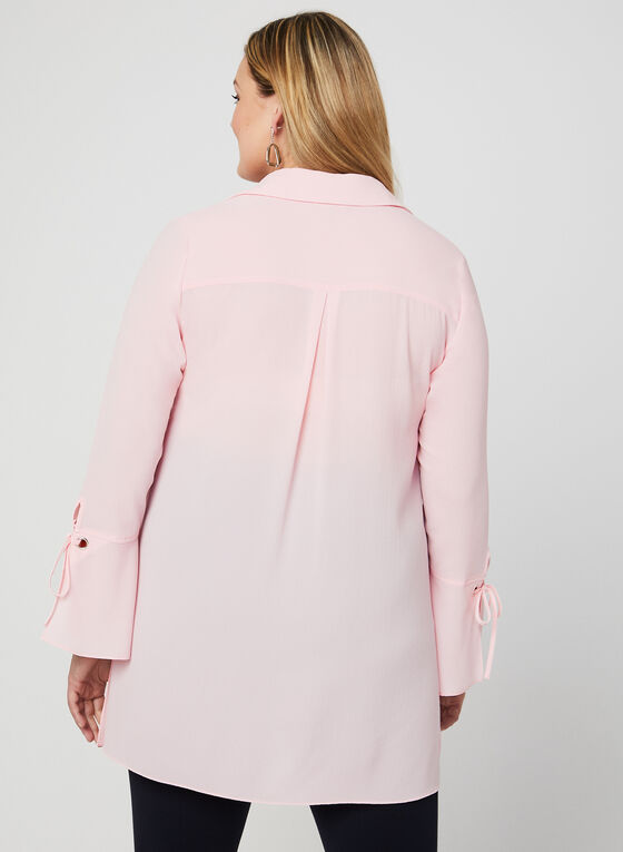 Button Down Crepe Blouse, Pink, hi-res