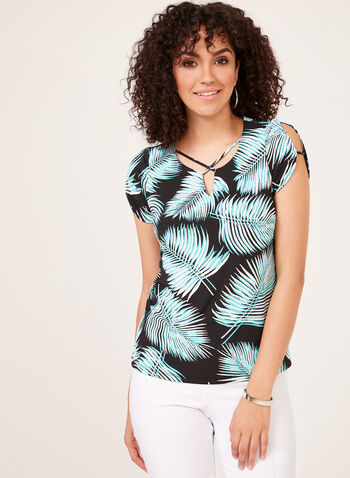 Palm Leaf Print Blouse, Black, hi-res