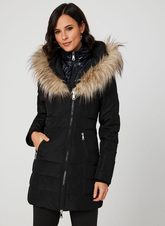 Faux Fur Trim Down Coat, Black, hi-res