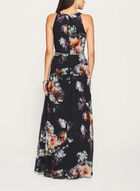 Floral Print Chiffon Dress , Black, hi-res