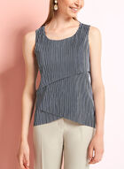 Stripe Print Plissé Tiered Top, Blue, hi-res