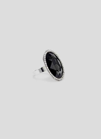 Adjustable Crystal Ring , Black, hi-res