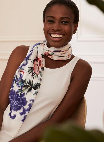 Floral Print Lightweight Scarf, Blue,  scarf, floral, lightweight, spring summer 2021