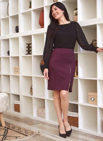 Zip Closure Straight Skirt, Purple,  skirt, straight, zipper, slit, ponte di roma, fall winter 2020