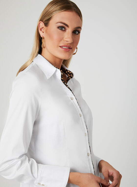 Leopard Print Trim Blouse, White, hi-res