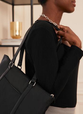 Nylon Tote & Crossbody Set, Black,  bag, handbag, tote, shoulder strap, nylon, crossbody, set, 2 piece, snap off, spring summer 2021