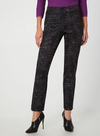Pantalon coupe moderne en serpent, Violet, hi-res,  pantalon, moderne, jambe étroite, serpent, point de Rome, automne hiver 2019