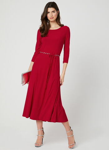 Fit & Flare Midi Dress, Red, hi-res