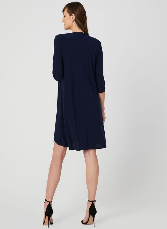 Robe motif crochet avec bijou et cardigan, Bleu, hi-res