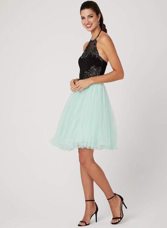 Fit & Flare Mesh Dress, Black