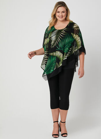 Tropical Print Poncho Blouse, Green, hi-res,  poncho, chiffon, leaf print, summer 2019
