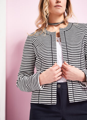 Stripe Print Open Front Jacket, , hi-res