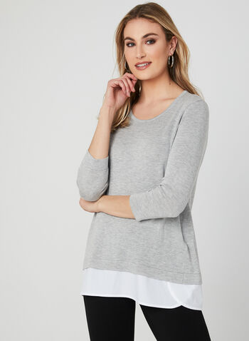 Layered Effect Sweater, Grey, hi-res