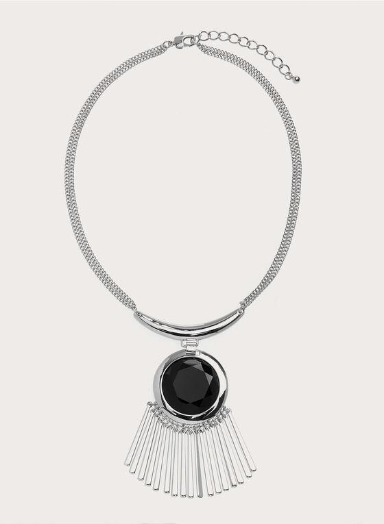 Collier avec pendentif en pierre et baguettes, Noir, hi-res