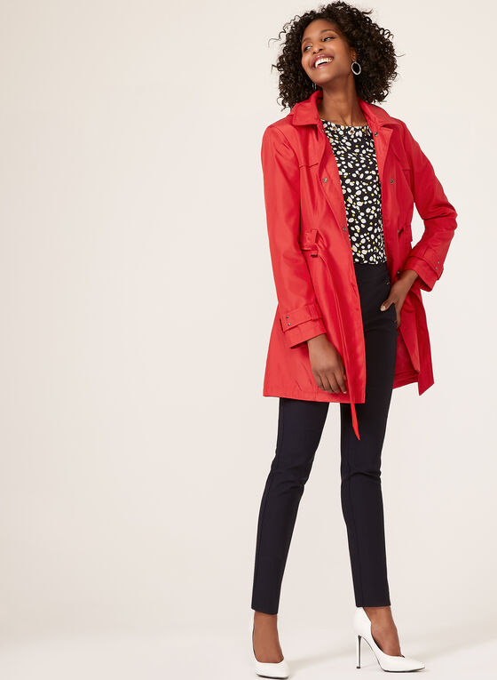 Hooded Trench Coat, Red, hi-res