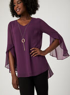 Chain Detail Chiffon Blouse, Purple, hi-res