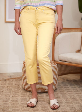 Straight Leg Capris, Orange,  spring summer 2021, made in Canada, bottoms, capris, mid rise, straight leg, 5 pocket, belt loops, stretch