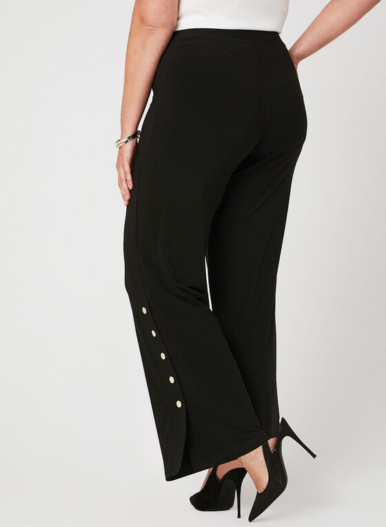Pantalon pull-on à jambe large avec fentes, Noir