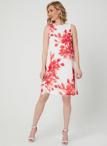Jessica Howard - Robe trapèze à fleurs, Blanc cassé,  robe de jour, sans manches, col ras-du-cou, fleurs, trapèze, mousseline, printemps été 2019