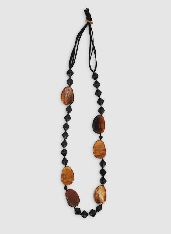 Marble Cord Necklace , Black