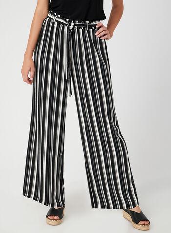Pantalon rayé à jambe large, Noir, hi-res,  Canada, rayures, coupe moderne, taille pull-on, taille élastique, automne hiver 2019, ceintré