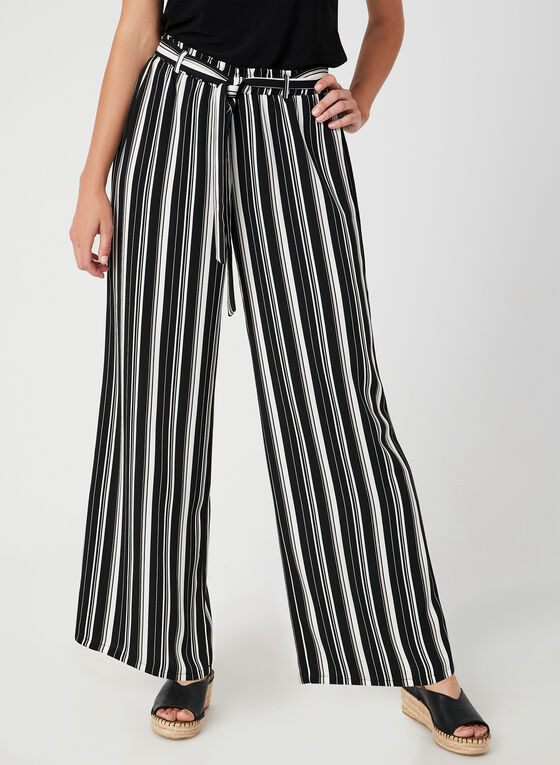 Pantalon rayé à jambe large, Noir