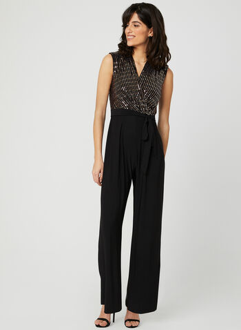 Deep V Sequin Jumpsuit, Black, hi-res