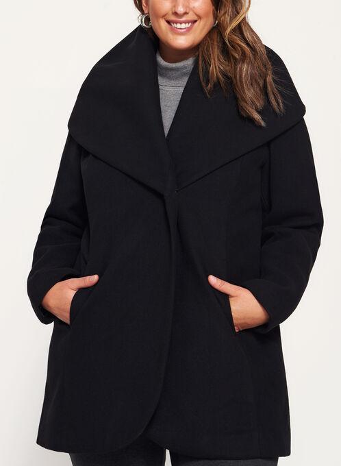 Manteau col châle style laine , Noir, hi-res