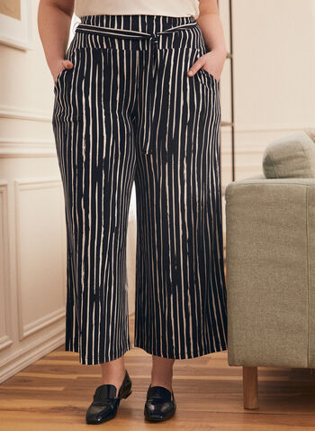 Joseph Ribkoff - Brushstroke Print Wide Leg Pants, Blue,  pants, pull-on, wide leg, belted, brushstroke print, pockets, ribkoff, lyman, spring summer 2021
