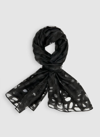 Abstract Print Burnout Scarf, Black, hi-res