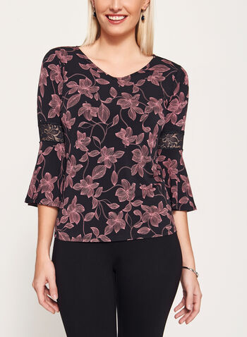 Floral Print Lace Trim Jersey Top, Black, hi-res