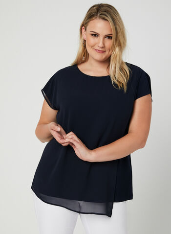Short Sleeve Chiffon Overlay Top, Blue, hi-res