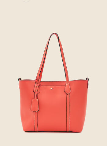Topstitch Detail Faux Leather Handbag, Orange,  handbag, handles, faux leather, stitch, zipper, spring summer 2020