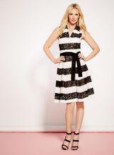 Stripe Print Cotton Lace Dress, , hi-res