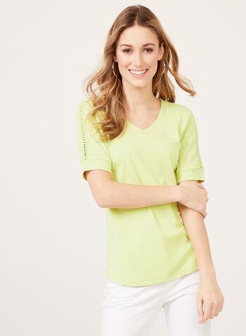 Crochet Trim V-Neck T-Shirt, Green, hi-res