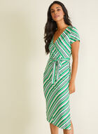 Stripe Print Short Sleeve Dress, Green