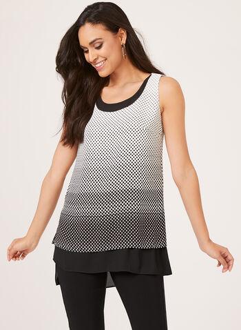 Sleeveless Polka Dot Print Tunic, Black, hi-res