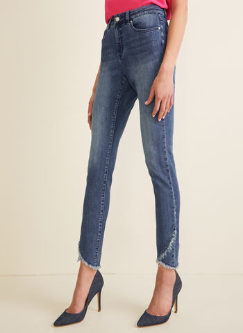 Jeans à jambe étroite et ourlet frangé , Bleu,  jeans, jambe étroite, ourlet frangé, poches, coton, printemps été 2020