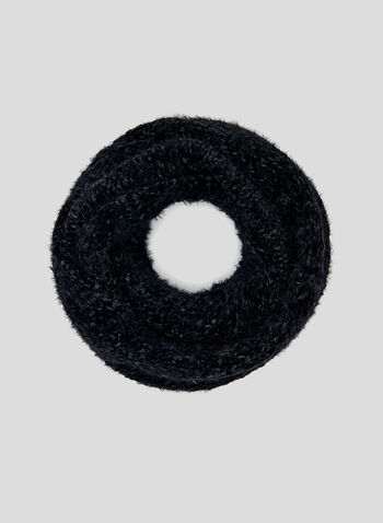 Chenille Infinity Scarf, Black, hi-res